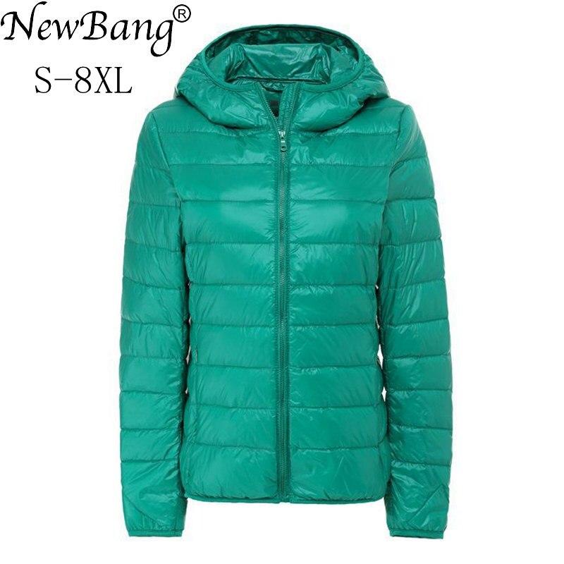 NewBang Brand 7XL 8XL Women's Down Coat Ultra Light Down Jacket Women Hooded Female Big Size Winter Feather Warm Jacket