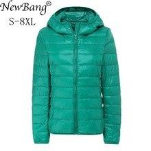 NewBang blouson dhiver capuche femme, chaud, en plumes, Ultra léger, avec capuche, grande taille, 7XL et 8XL