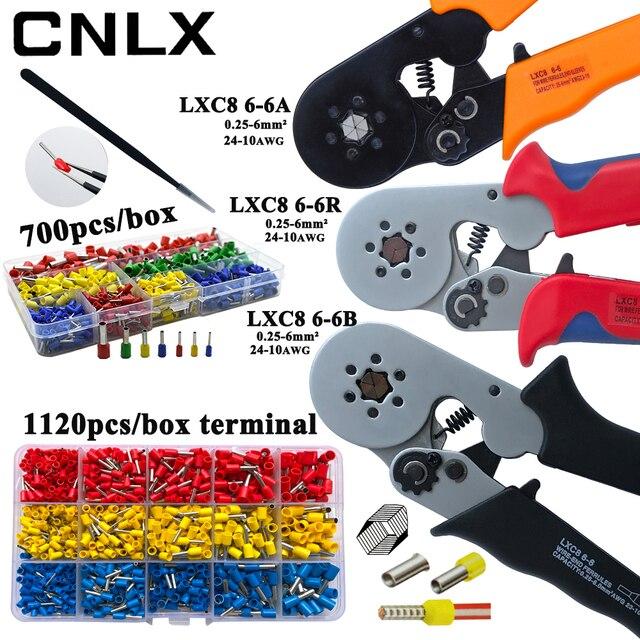LXC8 6 6R圧着ペンチ電子管状端子ボックスミニブランドプライヤーツールLXC8 0.25 6mm2 23 10AWG炭素鋼電気