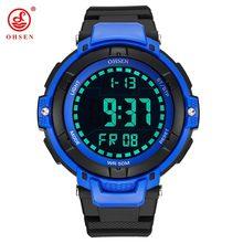 b13c6b6081ac OHSEN nuevo LED digital de moda reloj de pulsera para hombre Regalos correa  de caucho azul