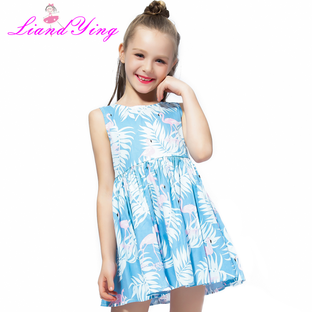 Girl Clothing Cartoon Flamingos Print Girl Dress 2018 Summer Children's Clothing Cotton Girls Dresses For 2-12Y flamingos print dip hem top
