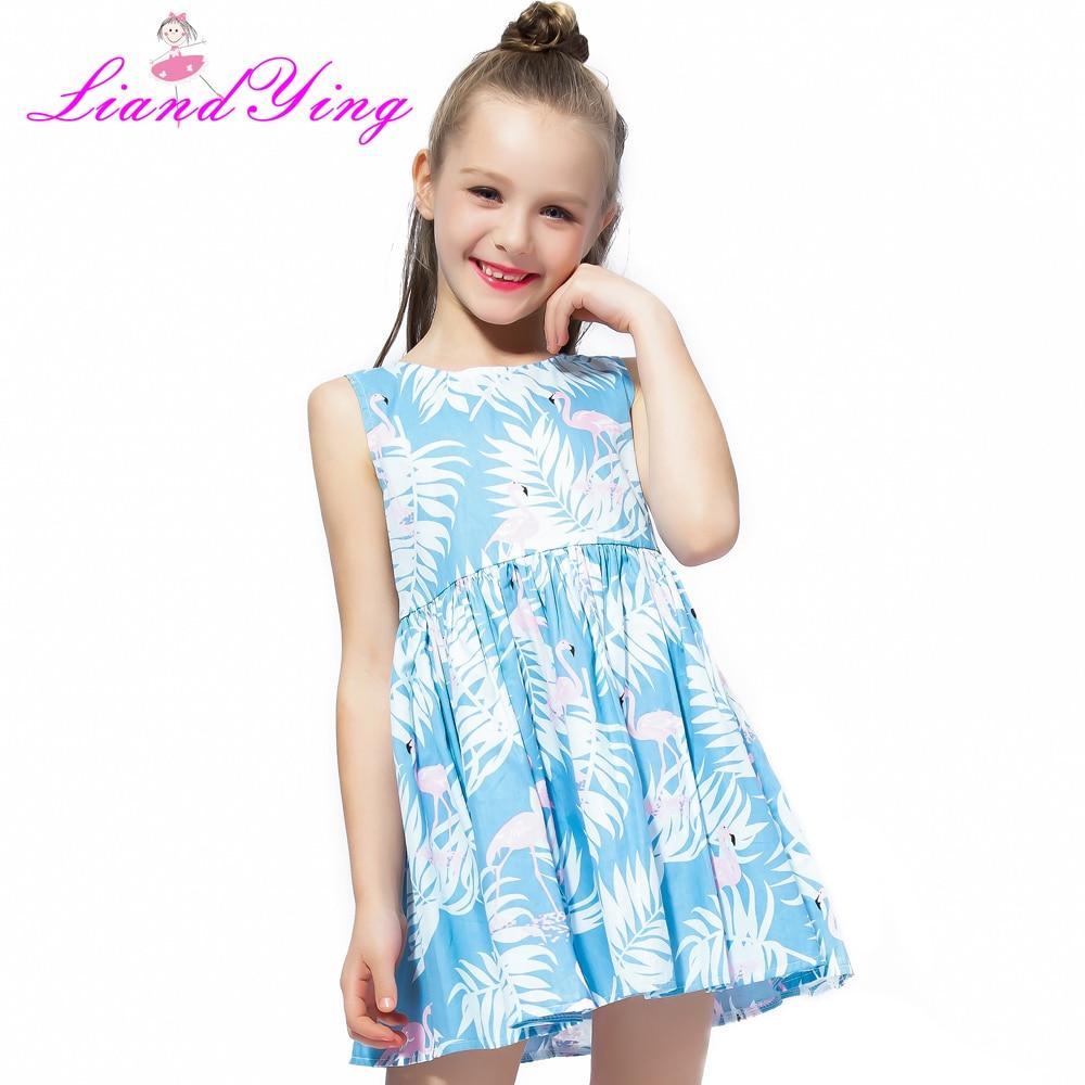 Girl Clothing Cartoon Flamingos Print Girl Dress 2018 Summer Children's Clothing Cotton Girls Dresses For 2-12Y plus flamingos print tee