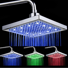 uythner newly arrival led color changing rainfall 8 inch shower head rectangular waterfall shower head chrome