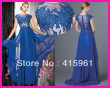 2014 New Arrival Royal Blue Appliques Lace Long Chiffon Women Pageant Prom Evening Dress E4593