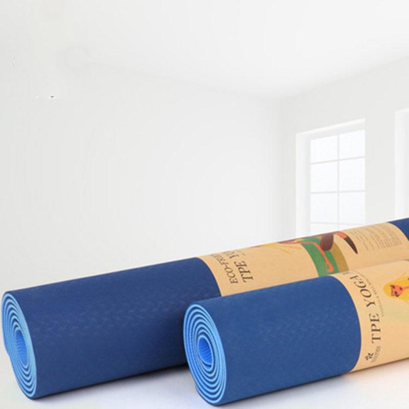 Tapis d'exercice de forme physique de couverture de yoga de Tpe 6mm double couche double couleur tapis de yoga élargi double tapis de gymnastique
