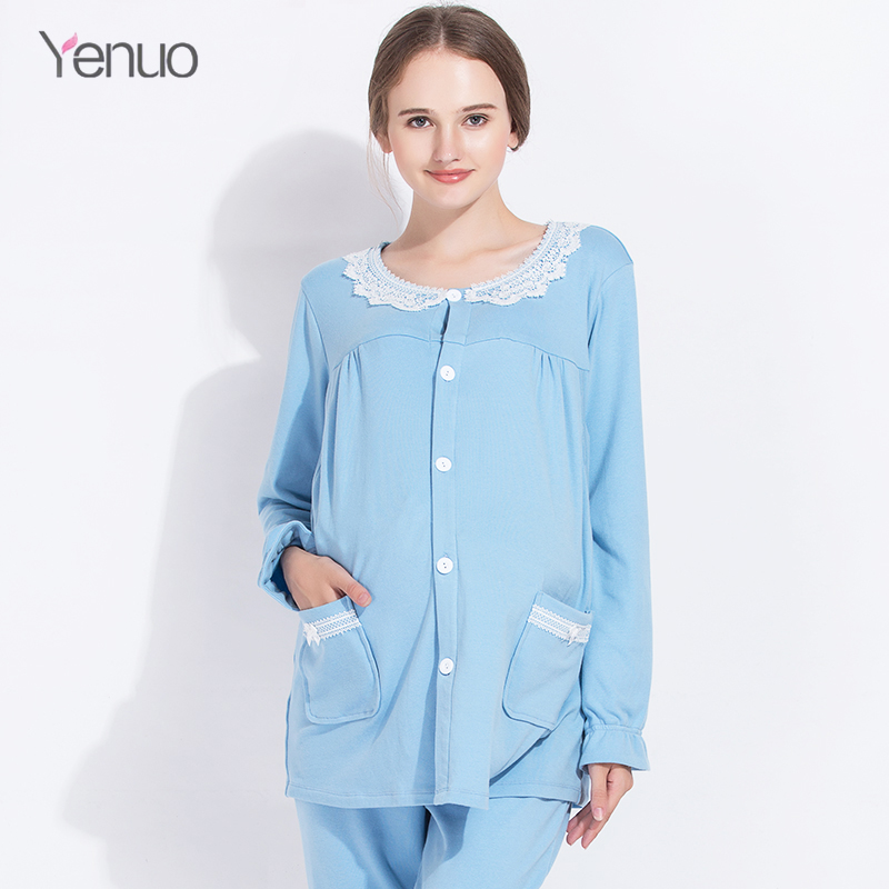 Cotton Maternity Pajamas clothing Set Postpartum Women Nursing Clothing Super Soft long sleeve Breastfeeding Clothing Sleepwear