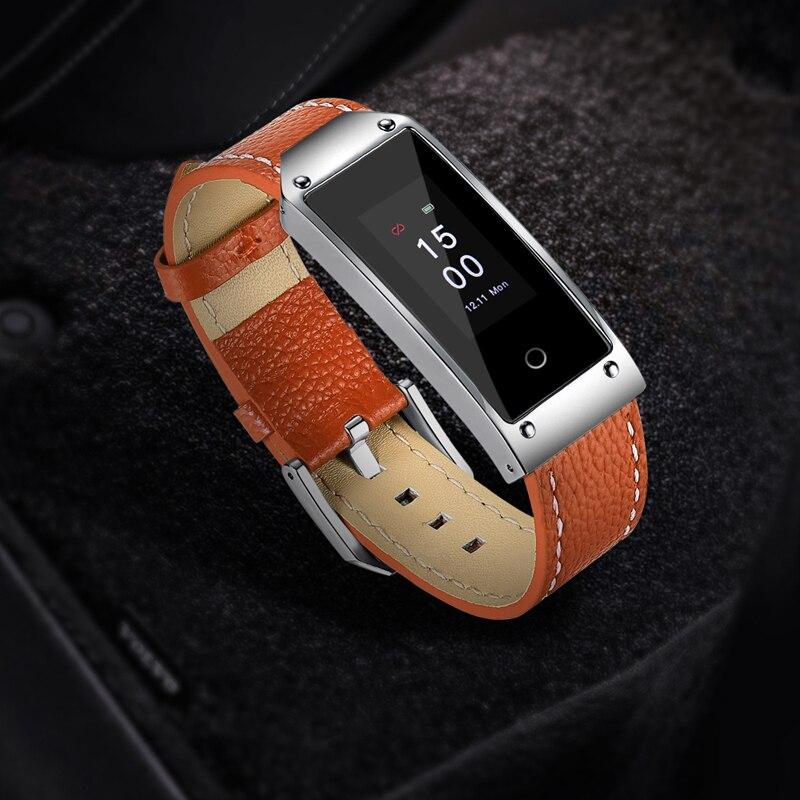 Montre intelligente bracelet en cuir hommes fitness tracker bracelet fréquence cardiaque compteur pas à pas bracelet intelligent pour hommes sport bande étanche