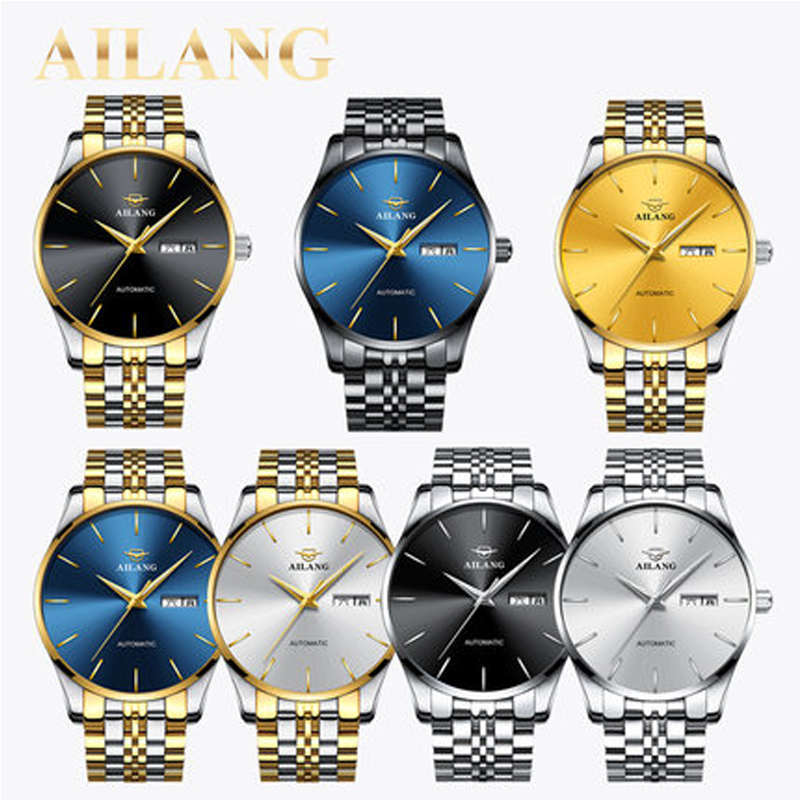 2017AILANG new high-quality simple fashion double calendar men's watches mechanical automatic ultra-thin sports waterproof watch 2017ailang luxury brand new ultra thin automatic mechanical watches is simple and stylish men watch sapphire watch steel