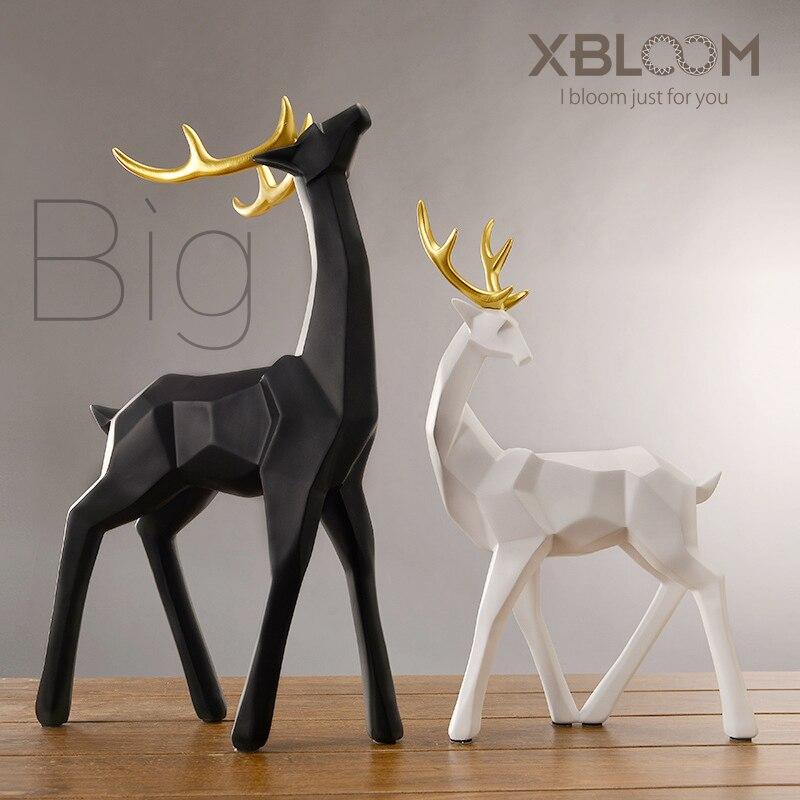 Duże geometryczne Origami czarny i biały złoty róg łoś linia dekoracji posąg jelenia zwierząt dekoracji dekoracje świąteczne ślub Gif 19 w Figurki i miniatury od Dom i ogród na  Grupa 1