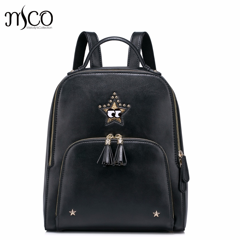 Brand Design Fashon Collage Rivets Tassels PU Women Leather Girls Ladies Backpack Shoulders Travel School Bags Student Daypack 2017 new brand ballet girl embroidery drawstring pu women leather ladies backpack shoulders school travel bags student daypack