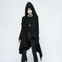 Fashion Gothic Dark Decadence Asymmetric Knitted Women's Coat with Hood