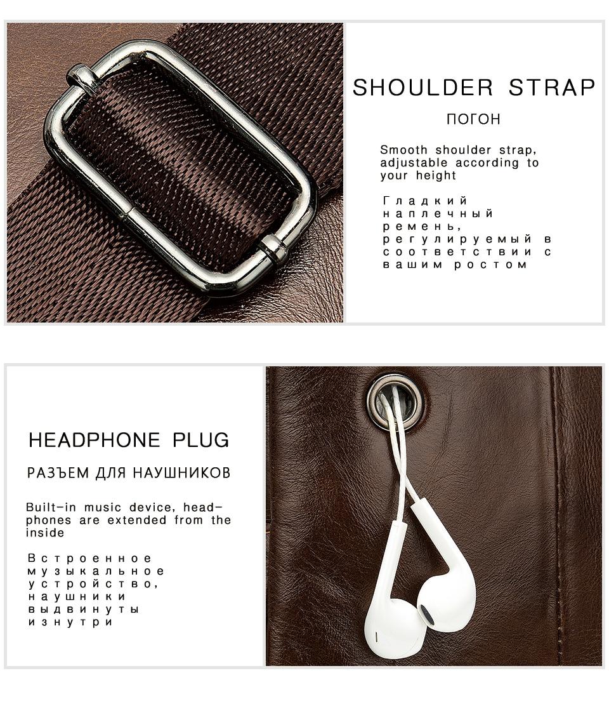 11 Men's Bag Leather Sling Bag Caual Men's Shoulder Bag Vintage Crossbody Bags for Men with Headphone Hole Travel Chest Pack