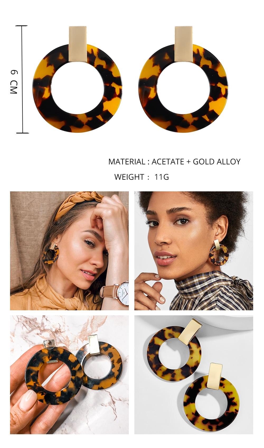 Женские леопардовые фигурные серьги ZA, висячие серьги черепаховой расцветки из акрилацетата, украшения для вечеринок