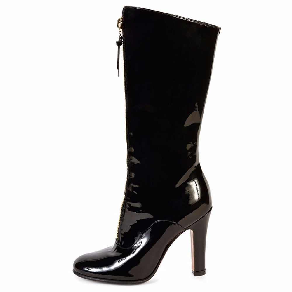 Inisastyle 2016 Round toe zip PU leather black font b shoes b font square heel riding