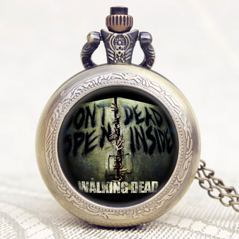 The Walking Dead Theme DONT OPEN DEAD INSIDE Design Glass Dome Case Cool Bronze Pocket Watch To American Drama Fans