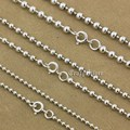 925 Sterling Silver Ball Bead Chain Biker Rocker Punk Necklace 8K016