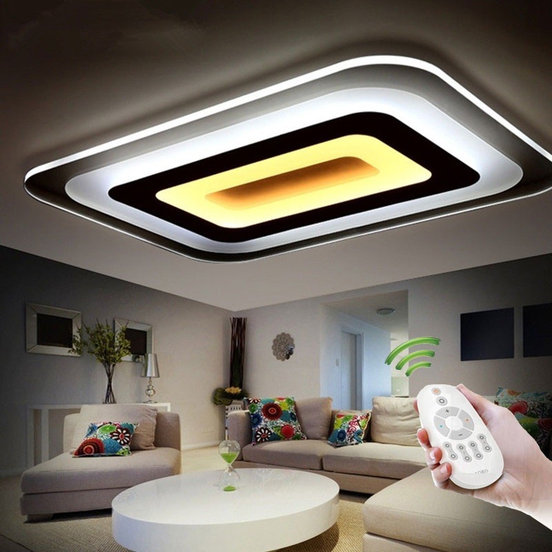 Slim Acrylic Rectangle & Square LED Ceiling Light Living Room Bedroom Study Den Dining Hall Patio Ceiling lamp 110-240V black or white rectangle living room bedroom modern led ceiling lights white color square rings study room ceiling lamp fixtures