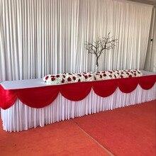 Шелк льда Подзор Юбка для стола красочные Юбка для стола Тин с Swag Плиссированные Ruched Юбка для стола для свадебного декора