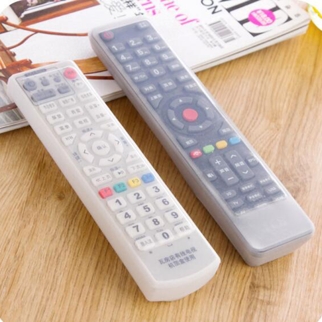 1Pc Transparent Silicone TV Remote Control Cover Dust Cover Protective Case Cover Waterproof Dust Protector Pouch Storage Bags
