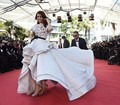 2015 Cannes Film High Low White and Black Fashion Aishwarya Rai Celebrity Dresses Evening Dress Famous Red Carpet Dresses
