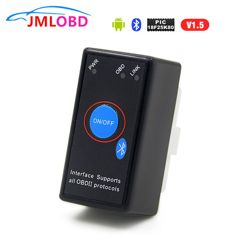 PIC18F25K80 Chip Super Mini OBD2 ELM327 V1.5 Bluetooth Diagnostic Tool V 1.5 Obd2elm 327 Works On Android Torque PIC Code Reader