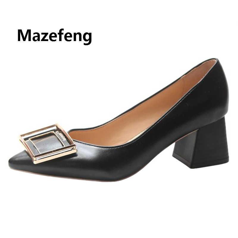 Женские туфли лодочки на высоком каблуке Mazefeng офисные квадратном с острым носком