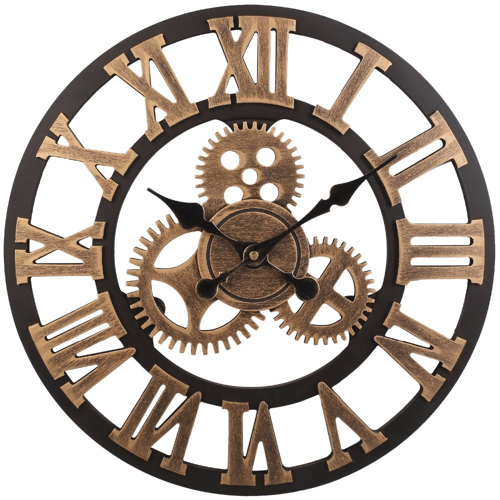 soledi vintage clock european retro vintage handmade 3d decorative gear wooden vintage wall. Black Bedroom Furniture Sets. Home Design Ideas