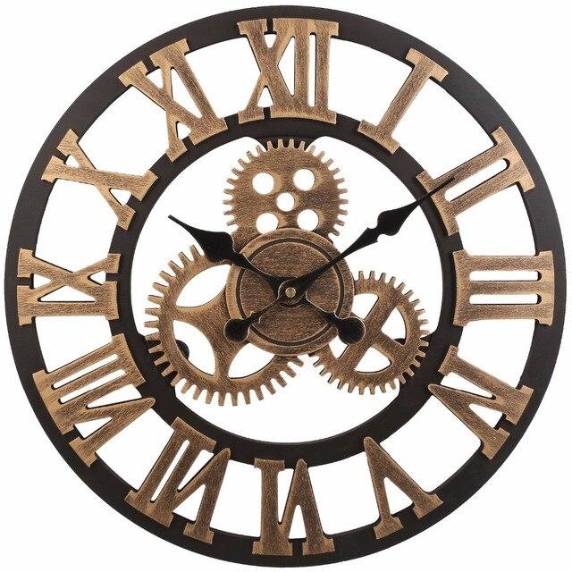 Soledi Vintage Clock European Retro Handmade Decorative Gear Wooden Wall Copper