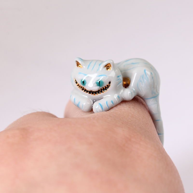 2018 New Style Girl Alice Series High-end Enamel Glazed Cheshire Cat Ring Elegant Noble  ...