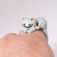 2018 neue Stil Mädchen Alice Serie High-end Emaille-glasierten Cheshire Cat Ring Elegante Edle Tier Schmuck Emaille Glasur Ring