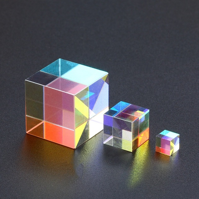 Optical Glass Cube Defective Cross Dichroic Prism Mirror Combiner Splitter Decor  10x10mm 18x18mm 5x5mm Transparent Module Toy