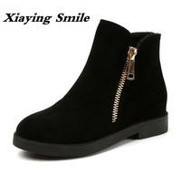 Xiaying Smile Winter Women Short Ankle Boots Zipper Flats Fashion Casual Solid Shoes Warm Round Toe