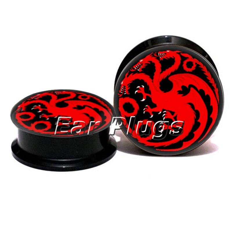 1 pair red dragon ear plug gauges black acrylic screw fit ear plug flesh tunnel body piercing jewelry PSP0765