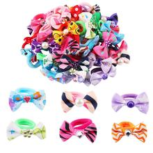 50Pcs/Lot Hairband Flower Bow Rope Cartoon Headband Cute Box Set Gift New Children Elastic Bands Girls Hair Accessories