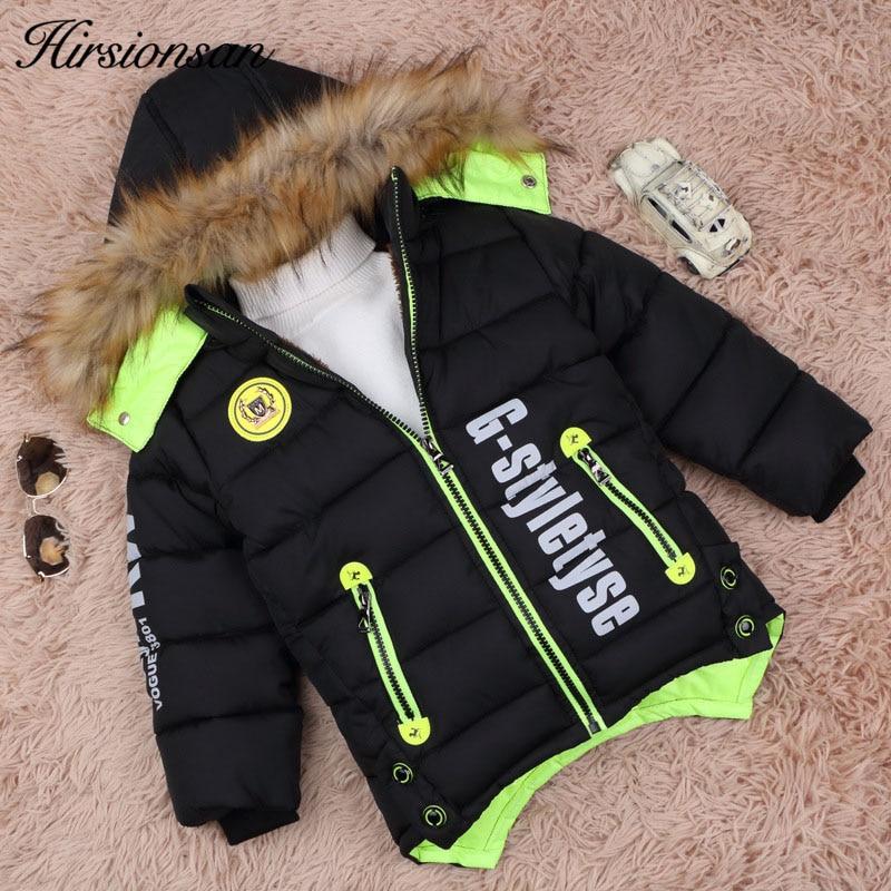 Hirsionsan Winter Jacket for Boys Fur Collar Zipper Pocket Hooded Cotton Coat for Kids Warm Children Outerwear джемпер gap gap ga020ebnbj69