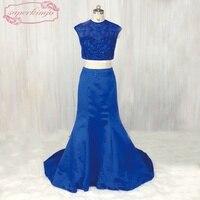 SuperKimJo 2 Piece Prom Dresses Mermaid Royal Blue Lace Beaded Evening Dresses Long Vestido Longo De