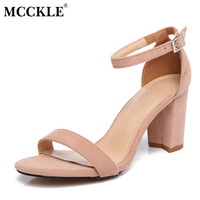 MCCKLE Women Summer Colorful High Heels New 2017 Fashion Ladies Ankle Strap Sexy Party Shoes Women