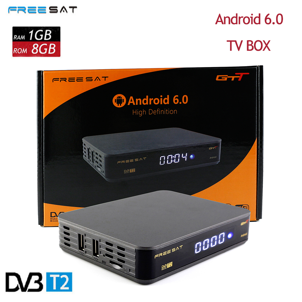Freesat GTT DVB t2+C Android 6.0 TV BOX HD 1080p 1g+8g dvb-t2 signal gtt freesat Support OTA update 4K/3D/H.265 Netflix Youtube android box iptv stalker middleware ipremuim i9pro stc digital connector support dvb s2 dvb t2 cable isdb t iptv android tv box