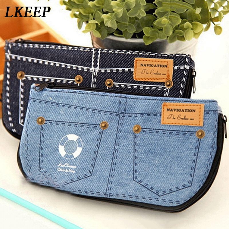 New Jeans Blue Women Cosmetic Bag Hot Denim Canvas Phone Bag For Travel Ladies Pouch