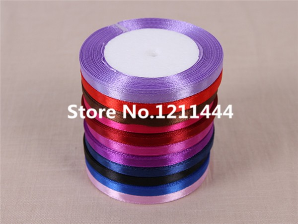 New 54# 6mm Wide 25Yards/Roll Satin Ribbons for Christams Gifts/ Wedding Place /Birthday /Festival/ Party decoration Blue Ribbon