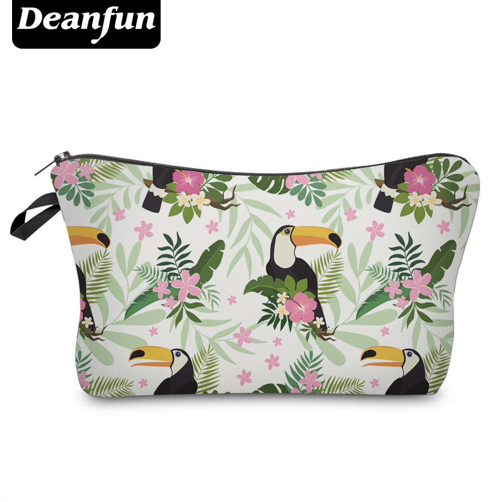 Deanfun 3D Printing Cosmetic Bags Bird And Flower Women Travel Necessity Makeup Organizer   50918