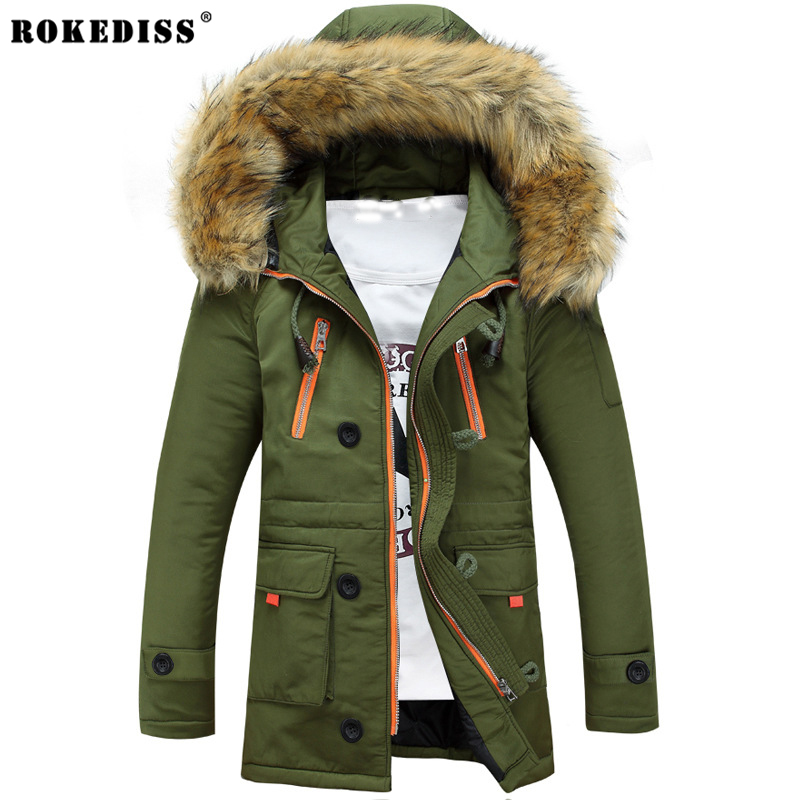 ROKEDISS 2017 New Winter Mens Parka Clothing Men Jacket Coat With Fur Hood high Quality Jackets Men  Vestidos hot sale hot sale winter jacket men fashion cotton coat warm parka homme men s causal outwear hoodies clothing mens jackets and coats