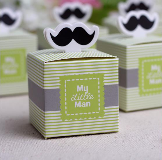 50pcs My little <font><b>Man</b></font> Cute Mustache Birthday Boy Baby Shower Favors boxes and bags baby shower souvenirs wedding gifts for guests