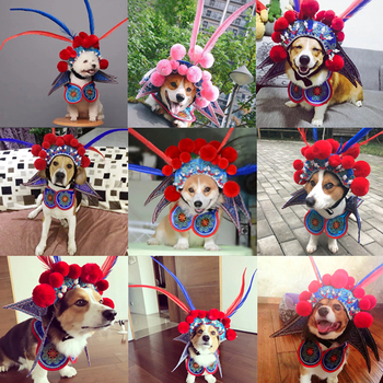 Pet Funny Costume Dog Cat Cap Hat Cloth Chinese Peking Opera Headgear Christmas Pet Photo Stage Prop Transformed Dress