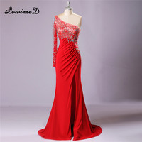 2017 New One Shoulder Red Beading Evening Dresses Chiffon Beading Long Sleeves Long Prom Dress Formal Party Gowns Robe de soiree