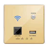 Cnskou USB Charging 4G 3G WiFi Socket,Wall Embedded Wireless AP Router Gold Crystal Glass Panel Mnaufaturer