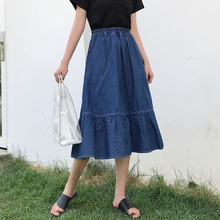 2018 Fashion Korean Preppy Style Denim Women Solid Color Long Skirt Nature Waist Female Big Hem Casual Button Jean Skirt  Spring