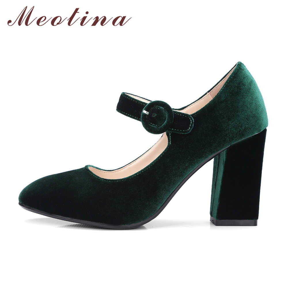 be85d5b294a ... Meotina Velvet Shoes Women Pumps High Heels Ladies Mary Jane Shoes  Buckle Black Thick Heels 2018 ...