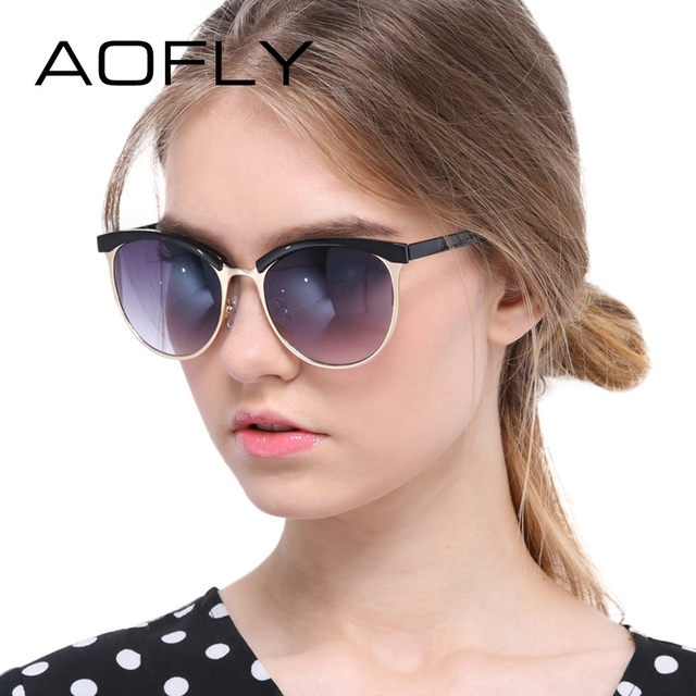 AOFLY Women's Cat Eye Sunglasses Female Glasses Half Frame Sunglasses Women Fashion Brand Design Goggles oculos de sol feminino