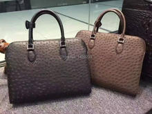 100% Genuine ostrich skin leather briefcase men business laptop bag coffee black, ostrich skin men official briefcase